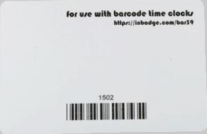 Barcode Badge Back