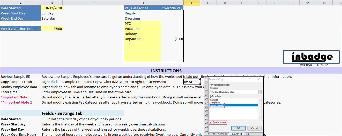 Excel Time Card Company Settings