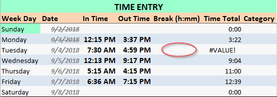 Employee Time Card with Break Error