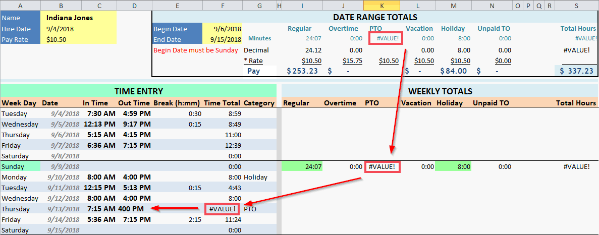 Employee Timecard Date Range Total Fix
