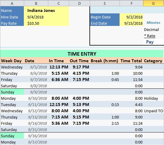 Employee Time Card Fields