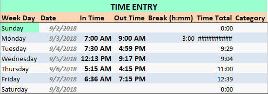 Employee Time Card with long break error