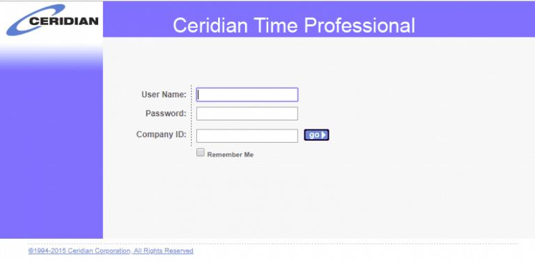 Ceridian Time Clock Login Page