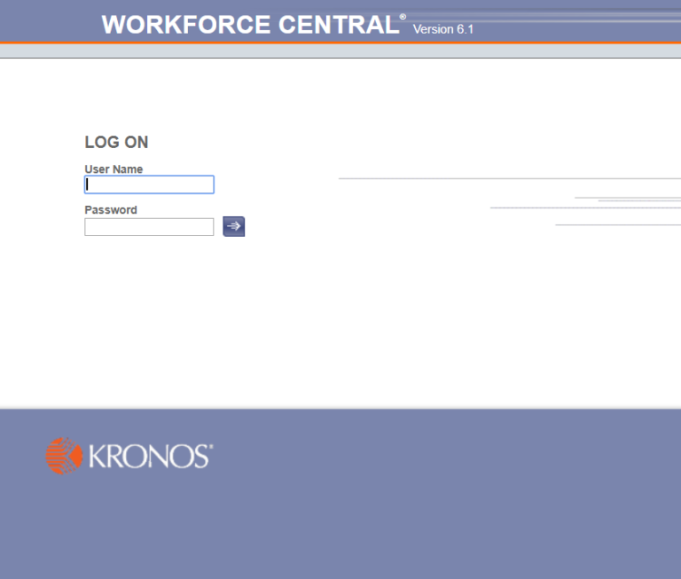 Kronos Workforce Central Login Screen Version 6.1