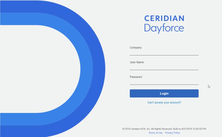 Ceridian DayForce HCM Login Page