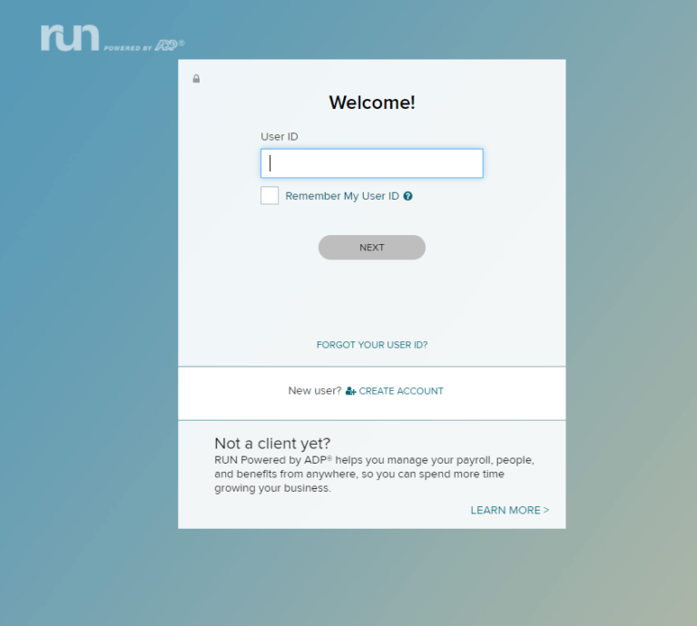 ADP RUN Login Page